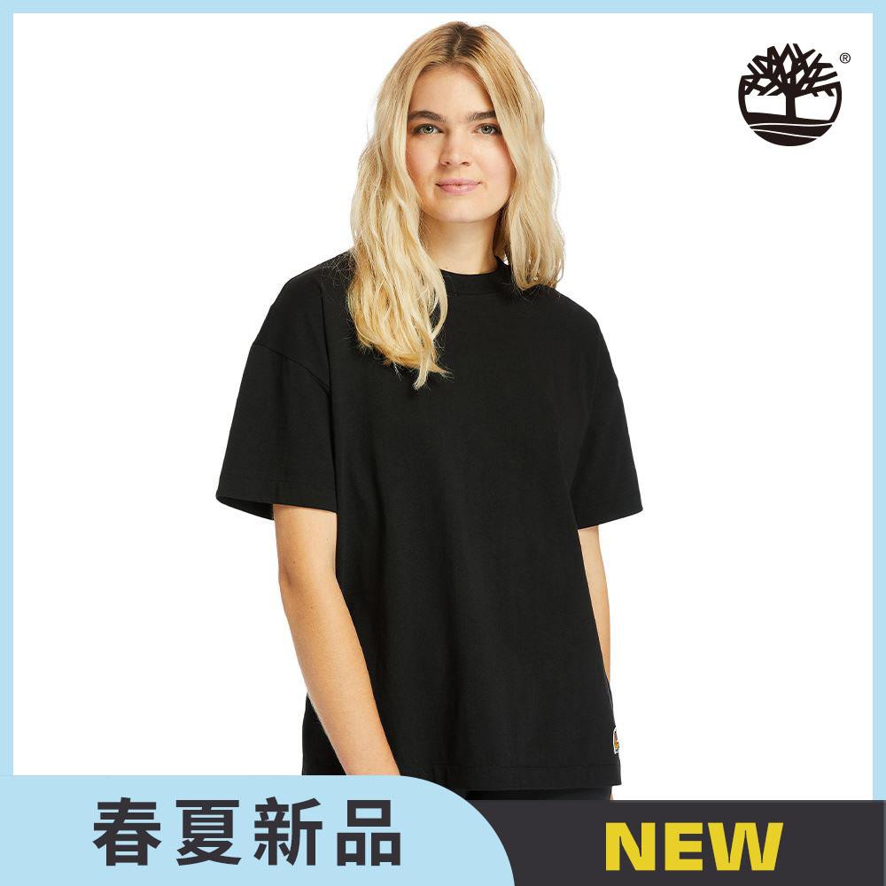 Timberland 女款黑色黃靴LOGO純棉寬鬆T恤|A2CU2001