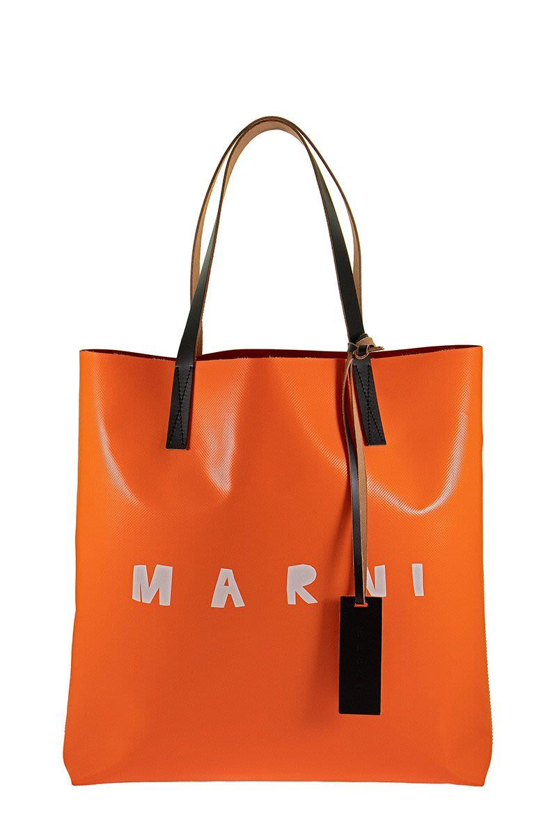 MARNI PVC Shopping Bag With Calfskin Handles and Frontal MARNI Logo