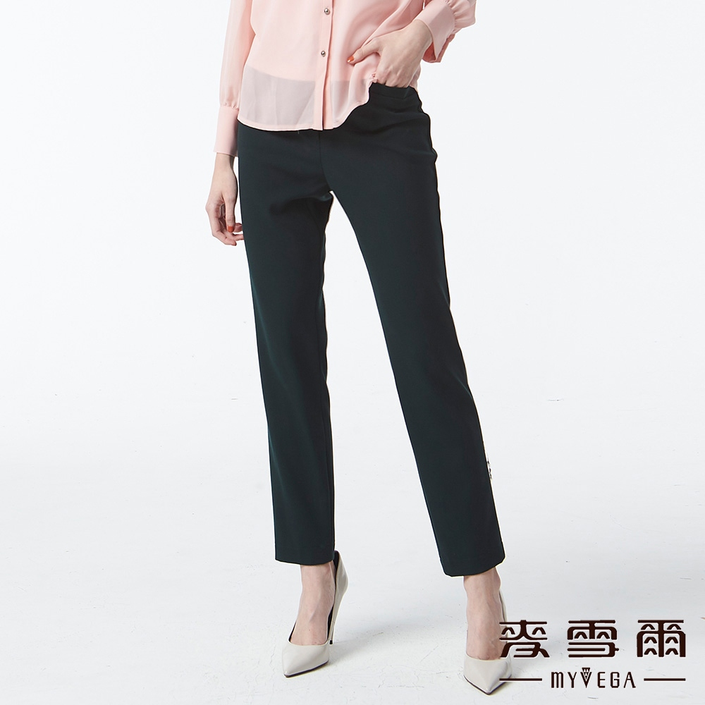 【麥雪爾】精緻褲頭素面九分褲-綠