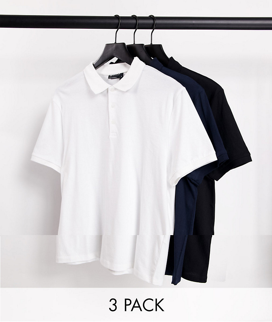 ASOS DESIGN organic jersey polo 3 pack multipack