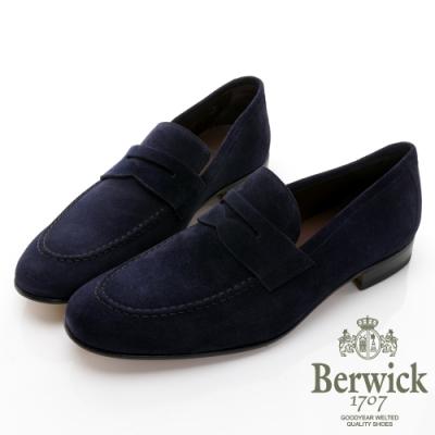 BERWICK西班牙進口-商務休閒質感麂皮樂福鞋 -藍 035009KM