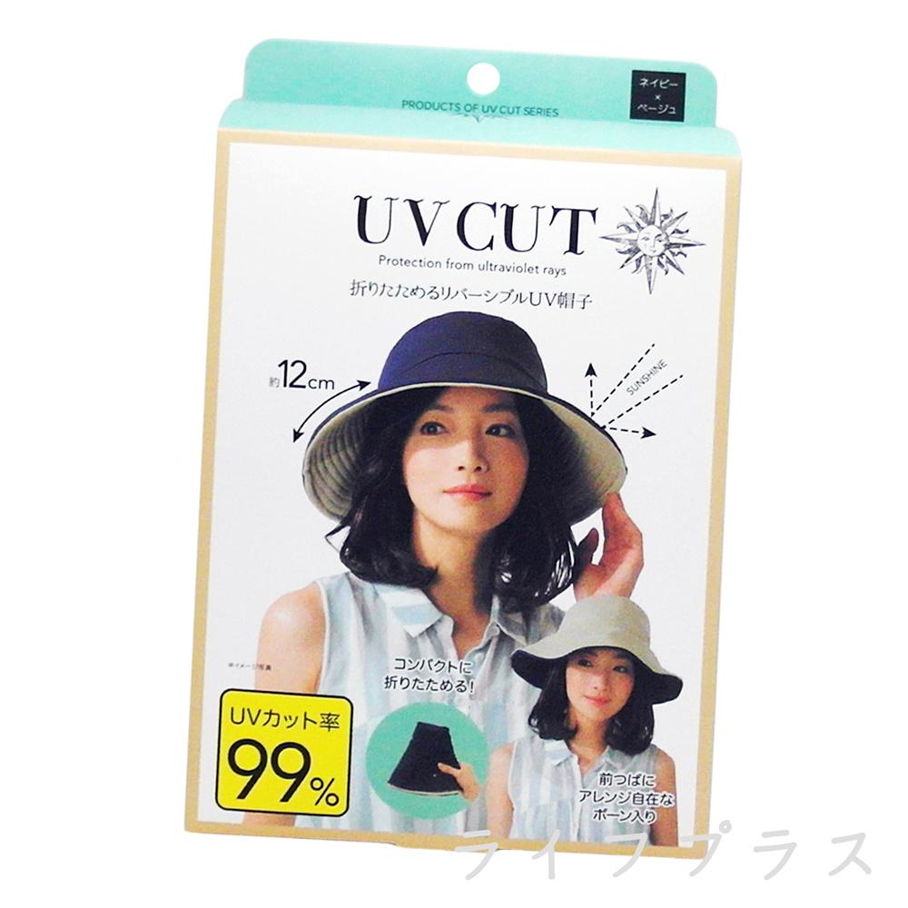 日本雙面抗UV可折彎防曬遮陽帽-深藍