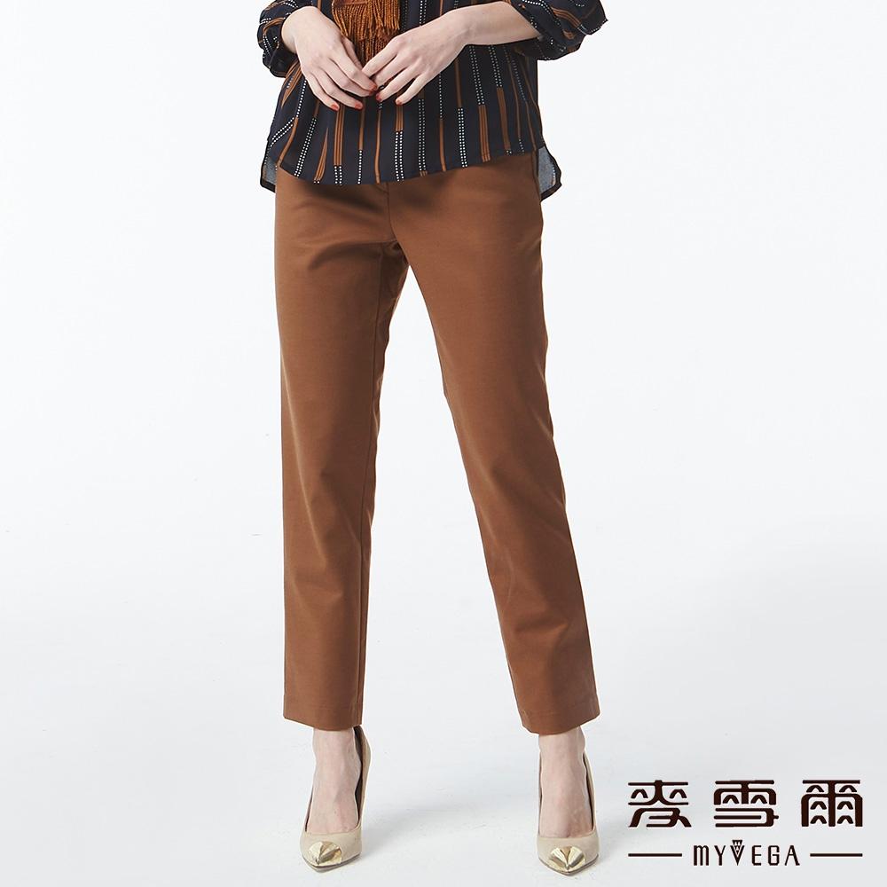 【麥雪爾】莫代爾棉修身打摺九分褲-咖啡