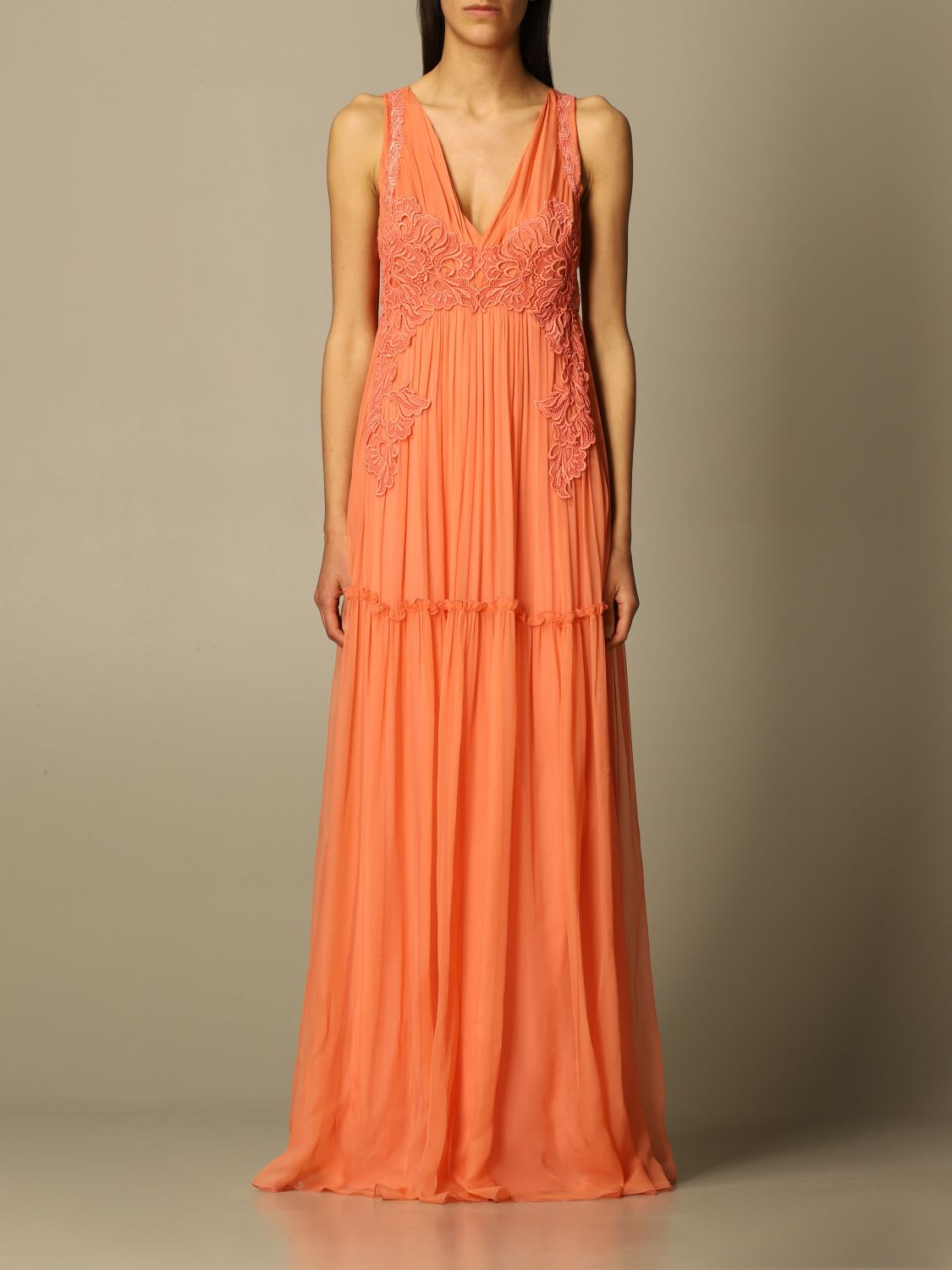 Alberta Ferretti Dress Alberta Ferretti Long Dress In Chiffon With Embroidery