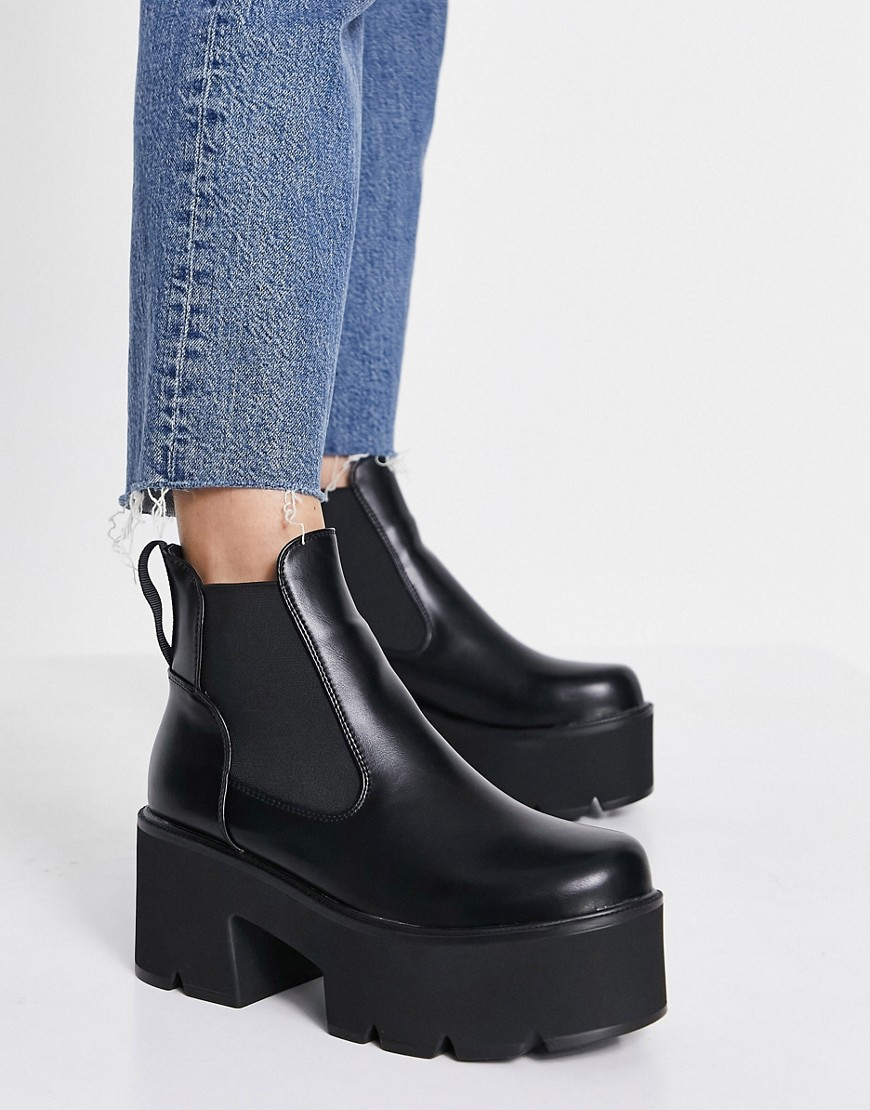 Lamoda Tough Love chunky heel chelsea boots in black