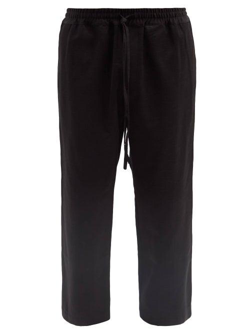 Commas - Drawstring-waist Cotton-blend Wide-leg Trousers - Mens - Black