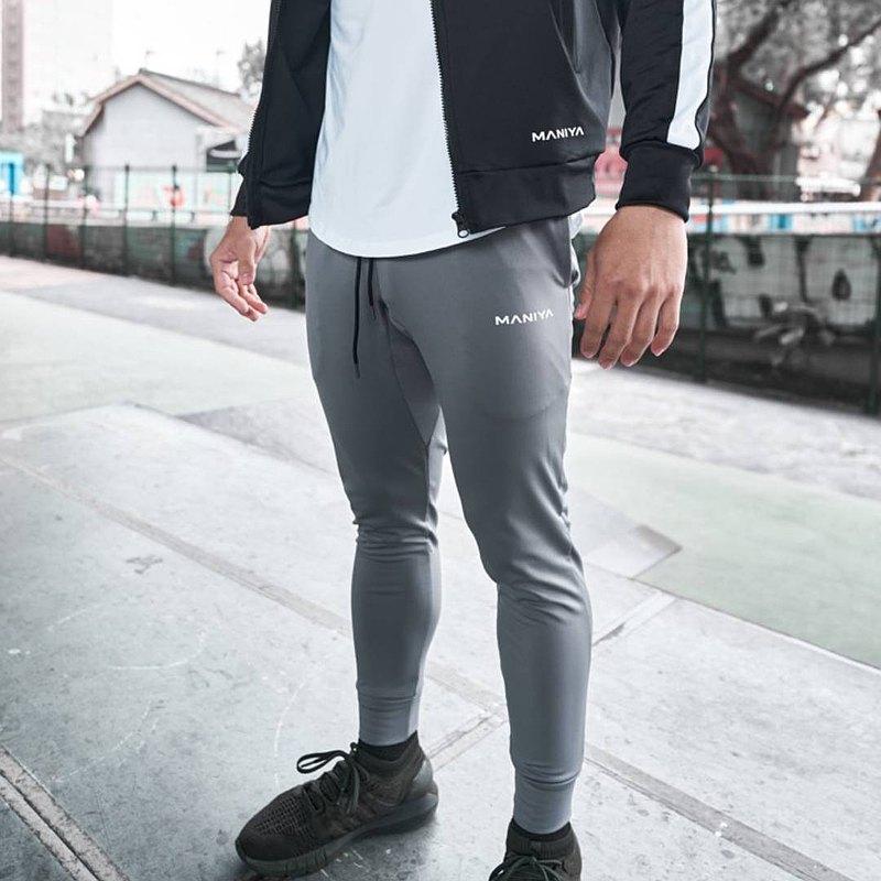 快速出貨| 【Athlastic系】純色機能長褲 (銀灰)