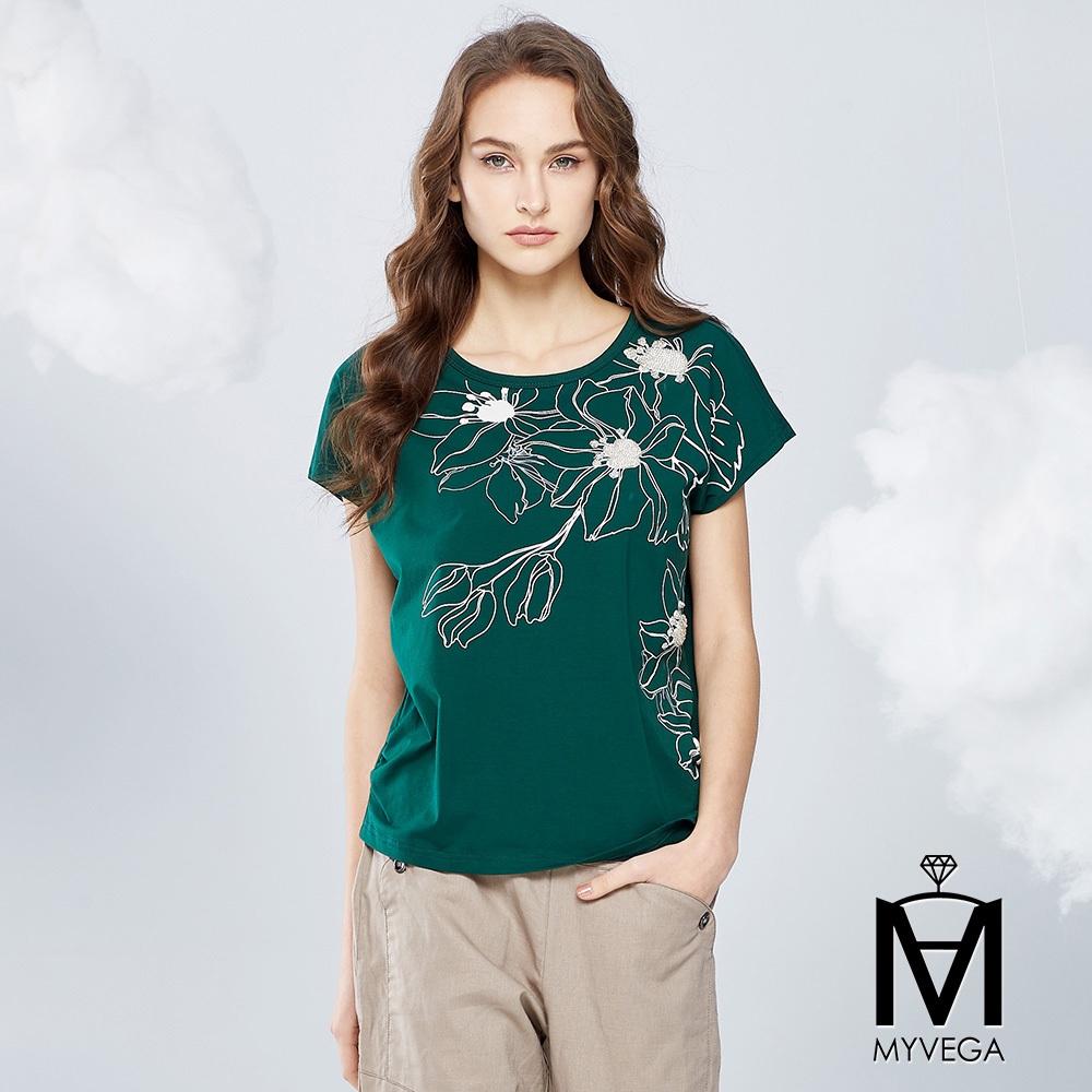 【麥雪爾】MA高含棉手縫珠立體印花上衣-綠