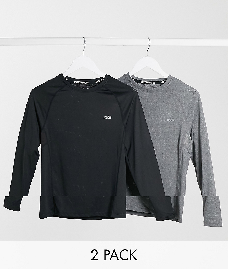 ASOS 4505 icon muscle fit training long sleeve t-shirt with quick dry 2 pack SAVE-Black