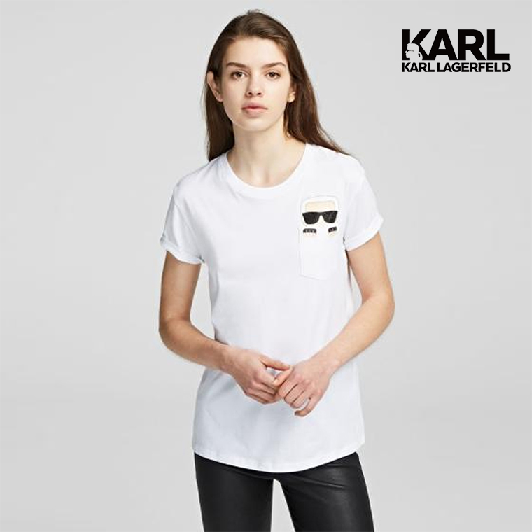 【KARL LAGERFELD】IKONIK KARL口袋T恤-白  (原廠公司貨)