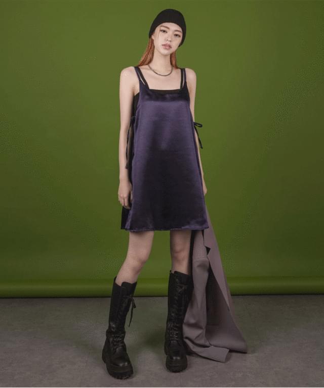 韓國空運 - Cella satin bustier mini Dress 迷你短洋裝