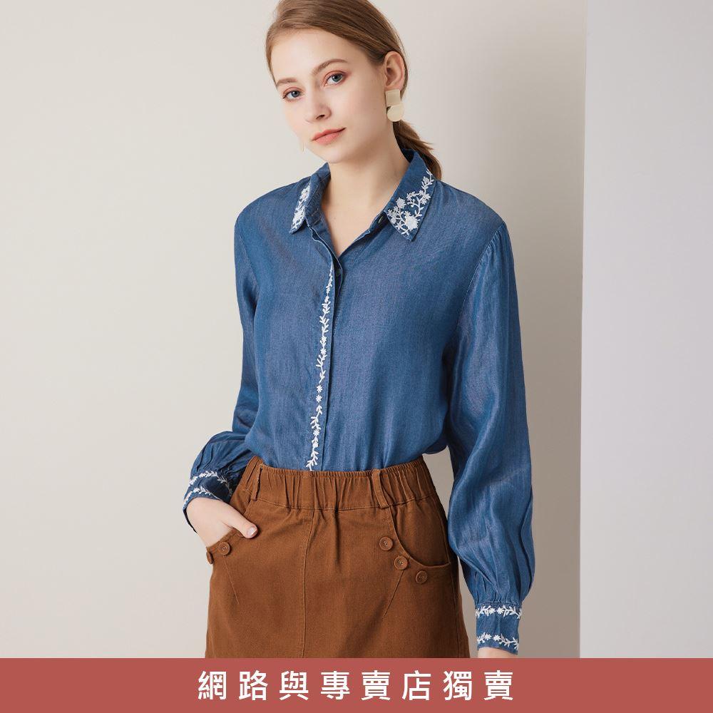 OUWEY歐薇 萊賽爾混棉刺繡襯衫(藍)3211468126