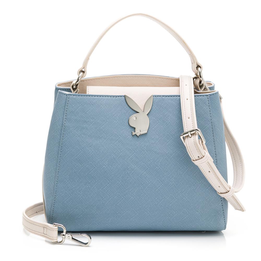 PLAYBOY- 手提包附長背帶 Plain系列-藍色(502-1401-50-6)