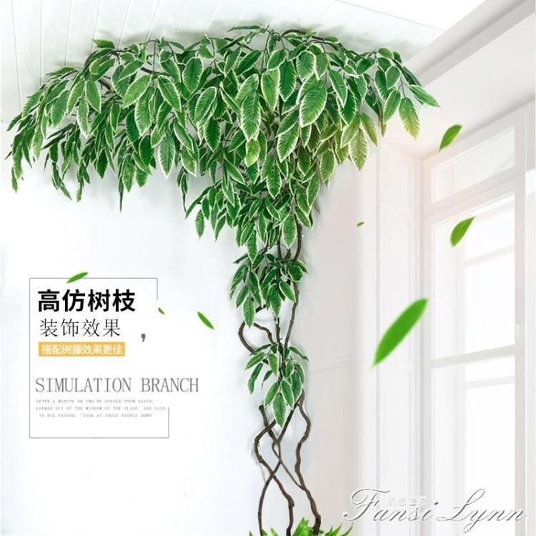 仿真榕樹葉紅楓葉室內假樹銀杏葉子塑料樹枝工程造景綠葉植物裝飾