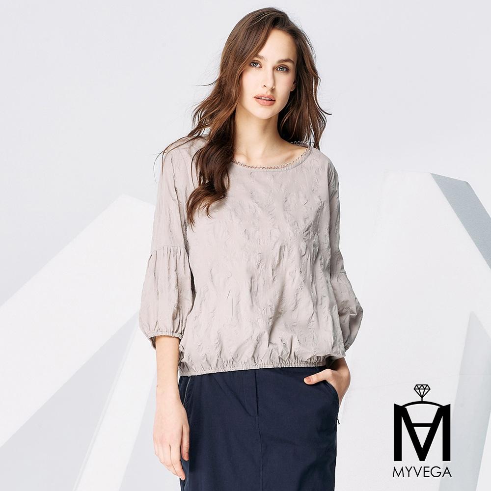 【麥雪爾】MA純色壓皺造型袖上衣-灰
