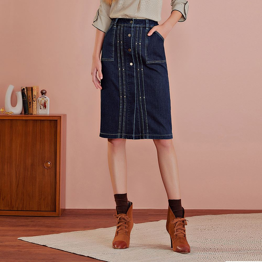 OUWEY歐薇 彈性排釦及膝牛仔裙(藍)J59222