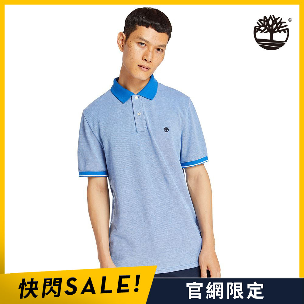 Timberland 男款土耳其藍單珠地牛津紡短袖POLO衫|A2B5N479