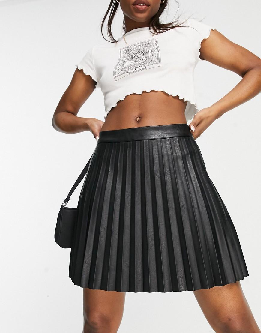 BB Dakota pleated PU mini skirt in black