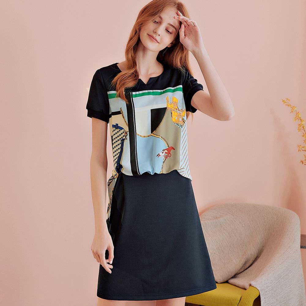 OUWEY歐薇 知性絲巾感拼接短袖洋裝(藍)J56724