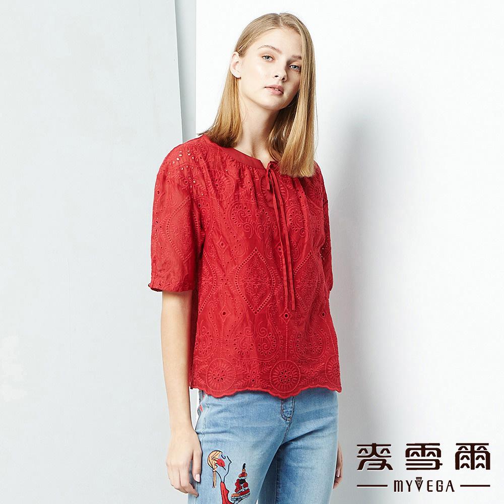 【麥雪爾】純棉甜美鏤空雕花上衣-暗紅單件9折//任選二件85折