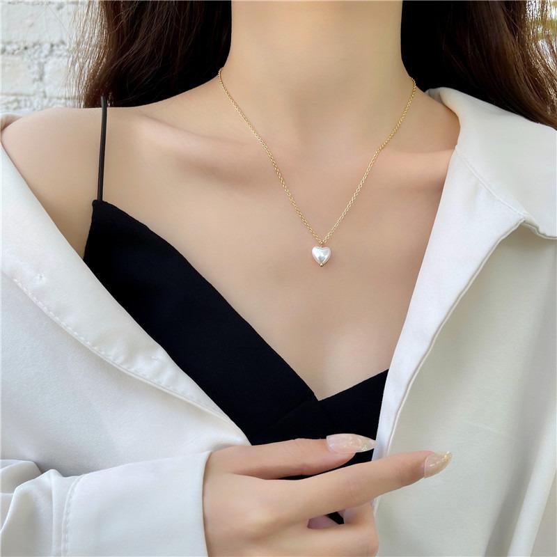 甜美氣質時尚愛心吊墜鎖骨鏈 少女簡約ins風珍珠項鏈 F402