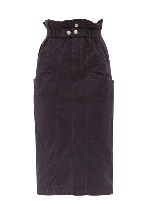 Isabel Marant - Elekia Paperbag-waist Linen-blend Midi Skirt - Womens - Black