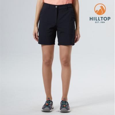 【hilltop山頂鳥】女款吸濕快乾彈性戶外休閒短褲S09F71黑
