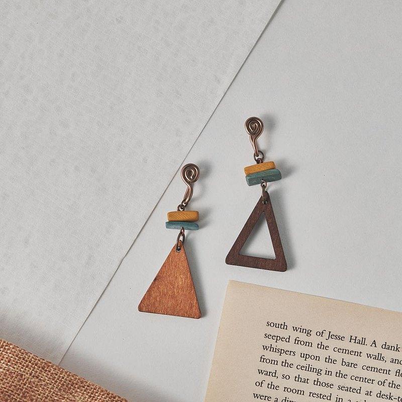 山嶼三角形 木頭款不對稱無痛耳夾