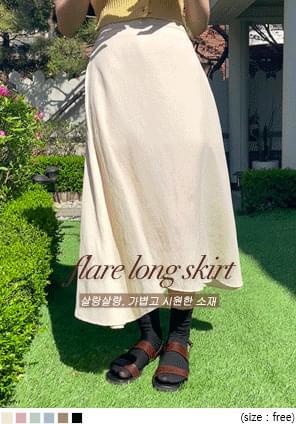 韓國空運 - 輕薄質感後鬆緊傘襬長裙 裙子