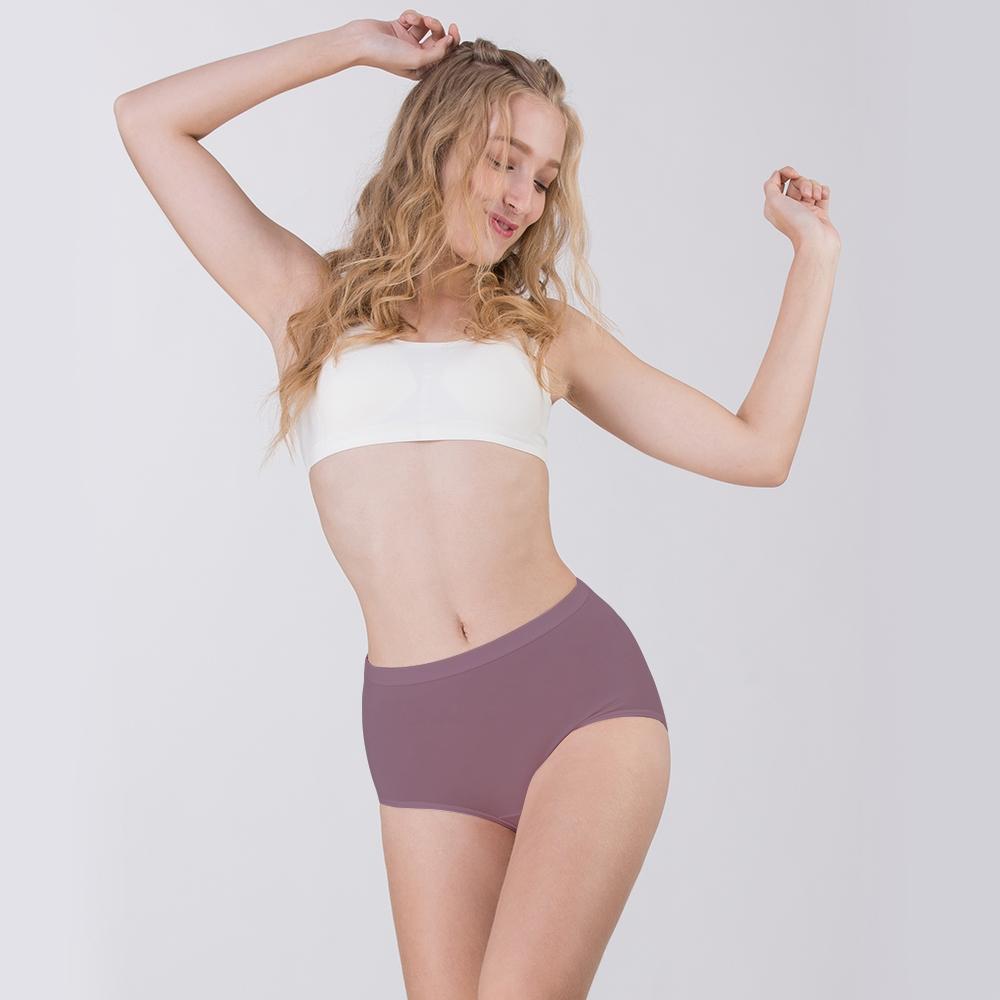 Pure5.5-雕塑收腹高腰女三角褲-深栗紫 (商品編號:V0700476)