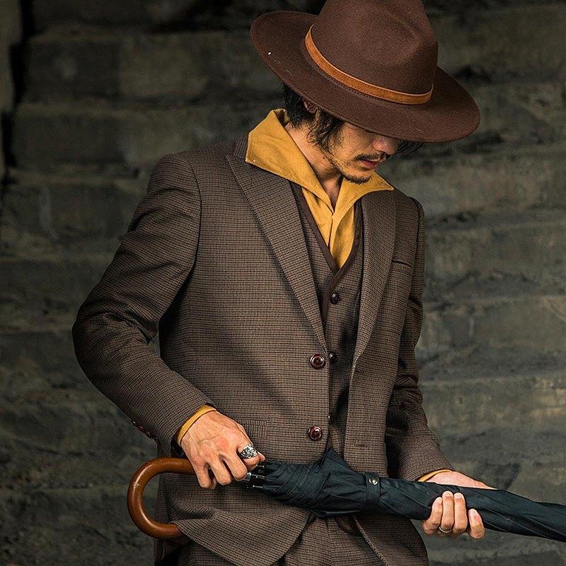 SOARIN英倫復古紳士槍駁領千鳥格商務西裝外套-咖啡色 (203XZ339)