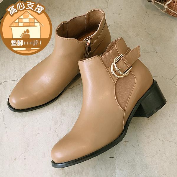 ❀足弓系列第二件88折❀Ann'S時髦格調-側邊鬆緊雙層金色扣帶粗跟短靴4.5cm-杏