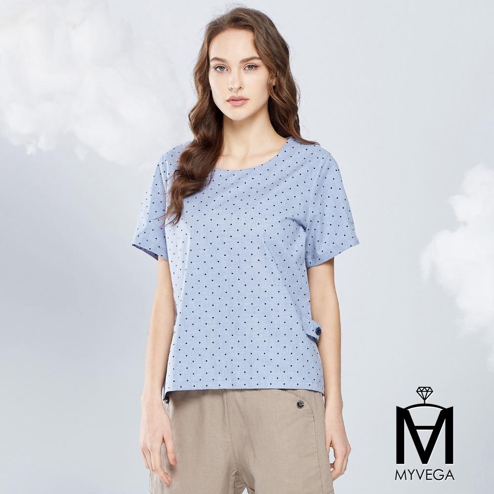 【麥雪爾】MA純棉圓點上衣-淺藍