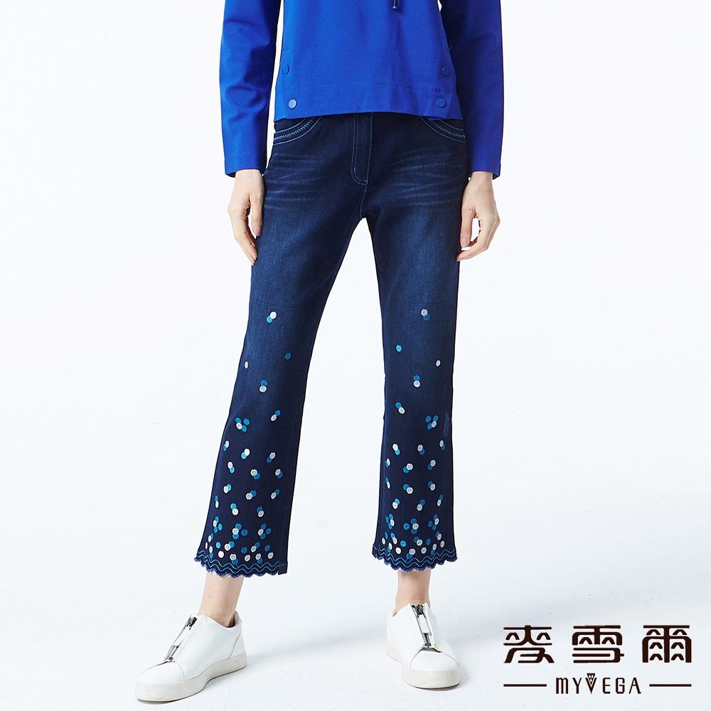 【麥雪爾】純棉波浪氣泡八分牛仔褲-藍
