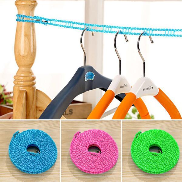 居家寶盒5米尼龍曬衣繩 防滑防風晾衣繩 柵欄式曬衣繩 帶掛鉤晾曬繩 居家 戶外 旅行 晾曬繩