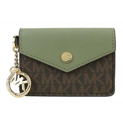 MK MICHAEL KORS JET SET防刮滿版鑰匙名片夾/零錢包-咖綠
