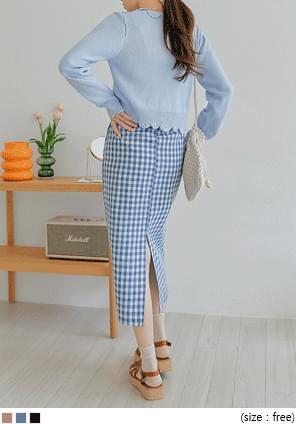 韓國空運 - 混亞麻後開衩格紋長裙 裙子