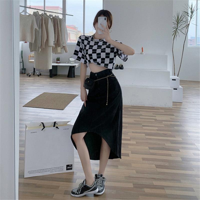 IELGY 半身裙女黑色不規則高腰顯瘦包臀中長裙2021夏季新款氣質魚尾裙