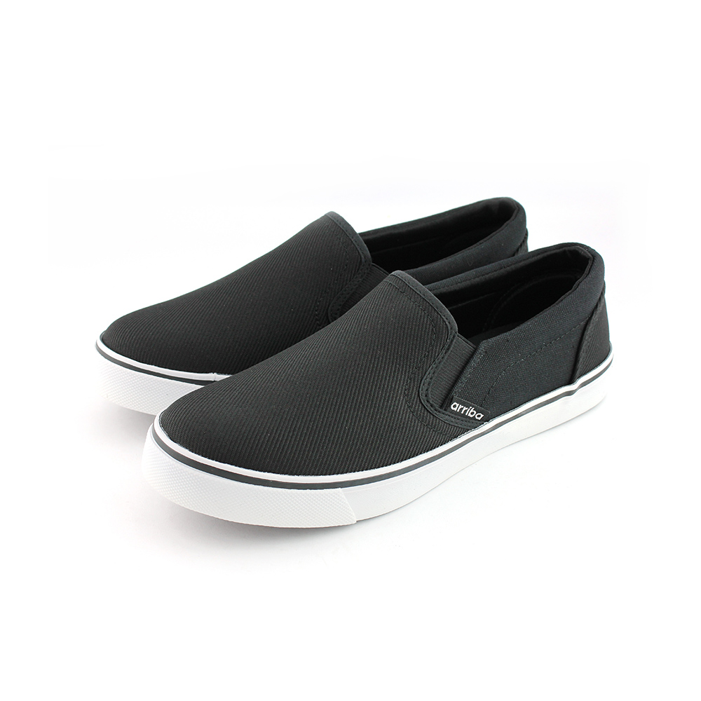 ARRIBA艾樂跑男鞋-素色布面懶人鞋-黑(AB8061)