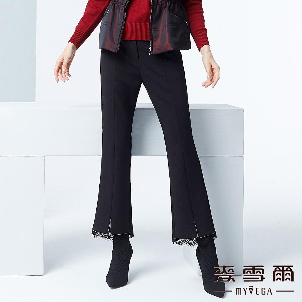 【麥雪爾】開岔剪接蕾絲九分西裝褲-黑