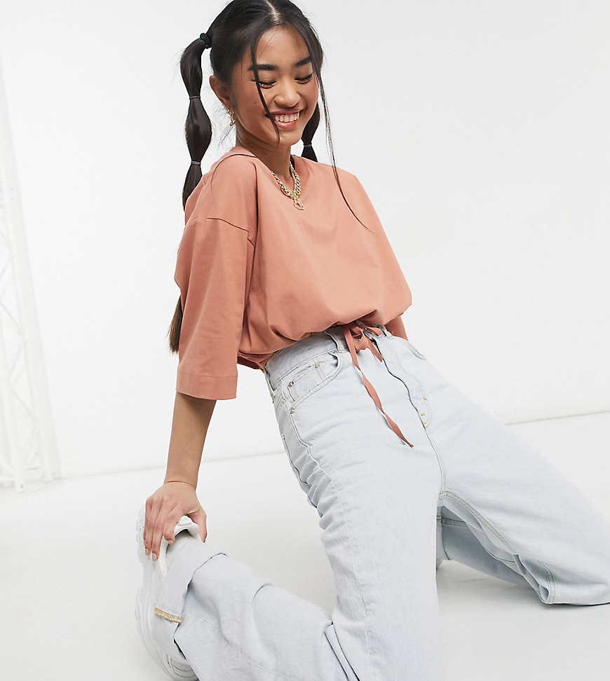 COLLUSION drawstring embroidered crop lounge top in peach co-ord-Pink