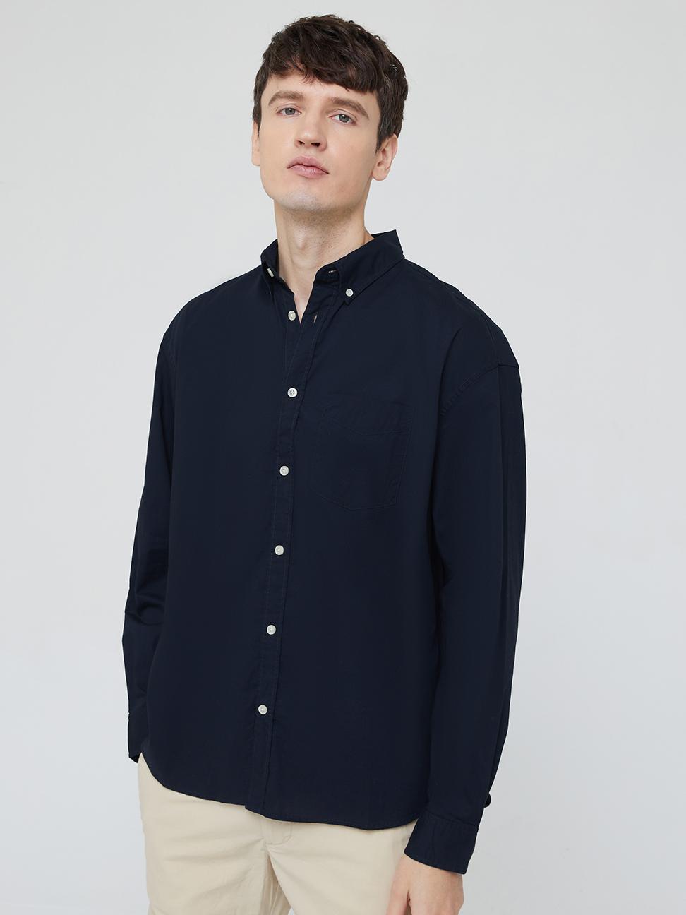 男裝 通勤休閒府綢布襯衫