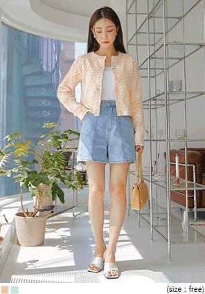 韓國空運 - 珍珠釦菱格紋針織外套 開襟衫