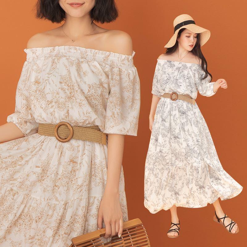 ◆限量現貨◆PUFII-洋裝 一字領碎花長洋裝(附皮帶)- 0318 現+預 春【CP19987】