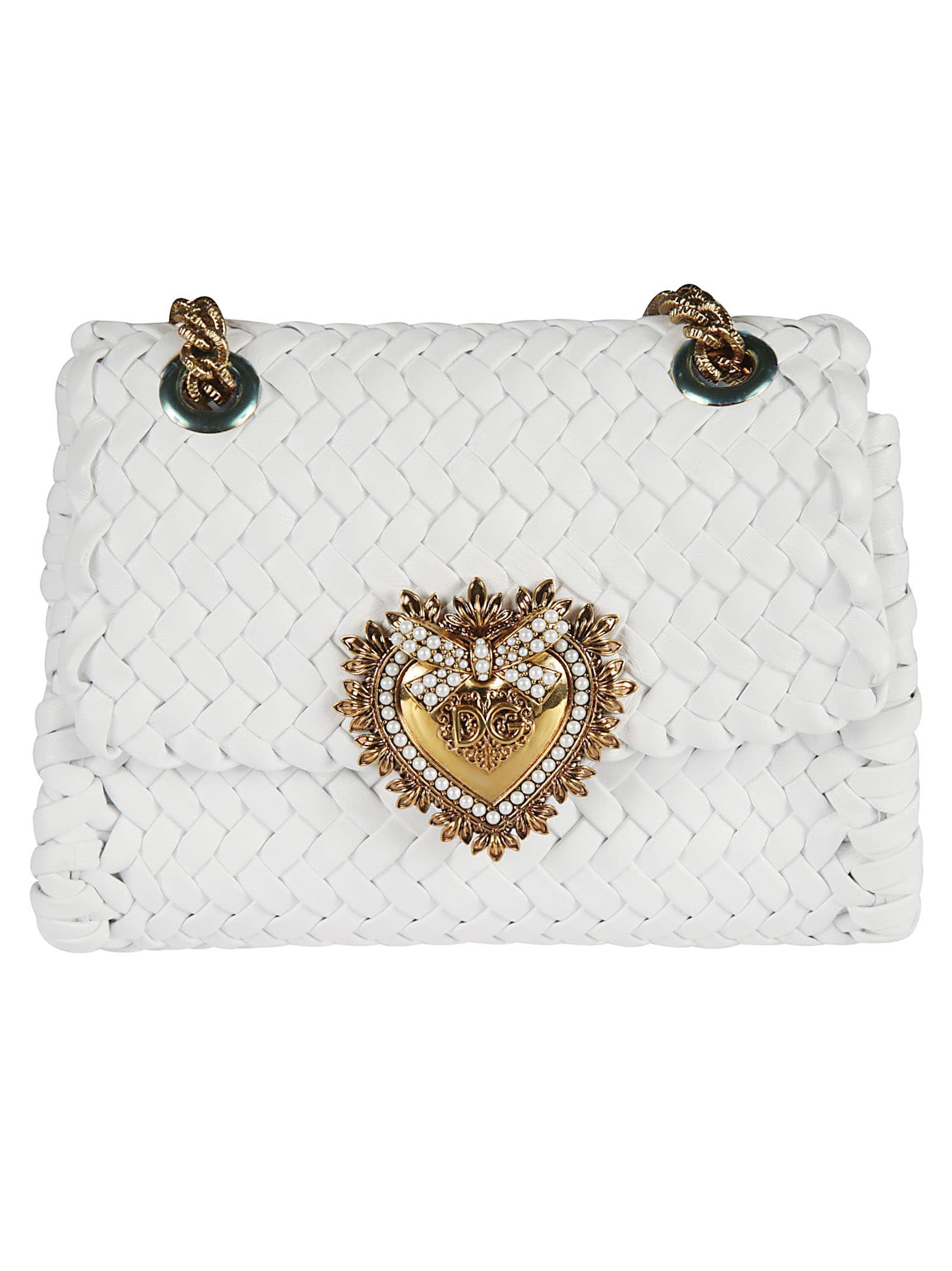 Heart Logo Plaque Woven Chain Shoulder Bag