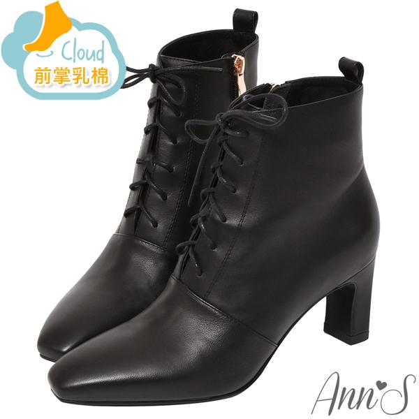 ❀足弓系列第二件88折❀Ann'S頂級小羊皮窄瘦修身造型綁帶方頭扁跟短靴6.5cm-黑