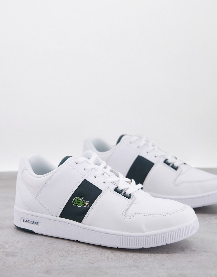 Lacoste thrill trainers white green stripe