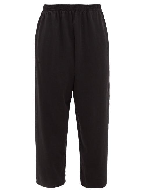 Eskandar - Straight-leg Cropped Pima-cotton Jersey Trousers - Womens - Black