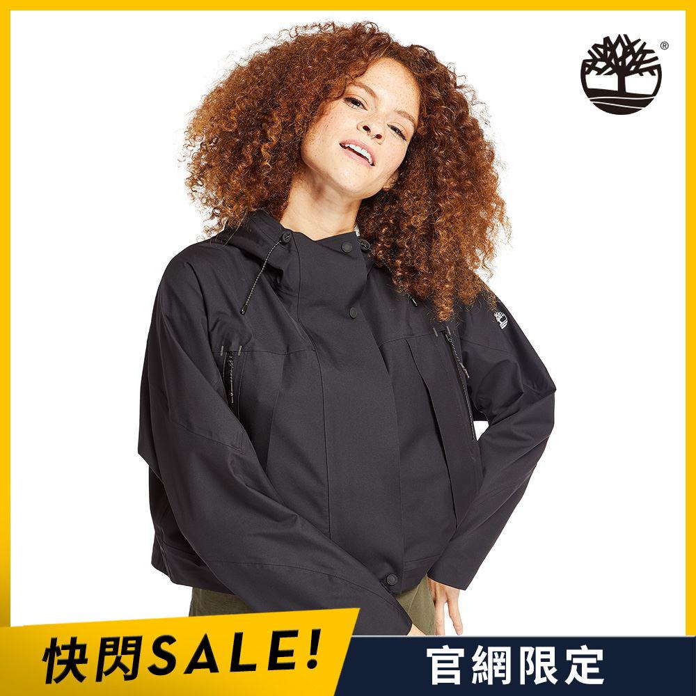 Timberland 女款黑色寬鬆短版連帽派克大衣|B5104001