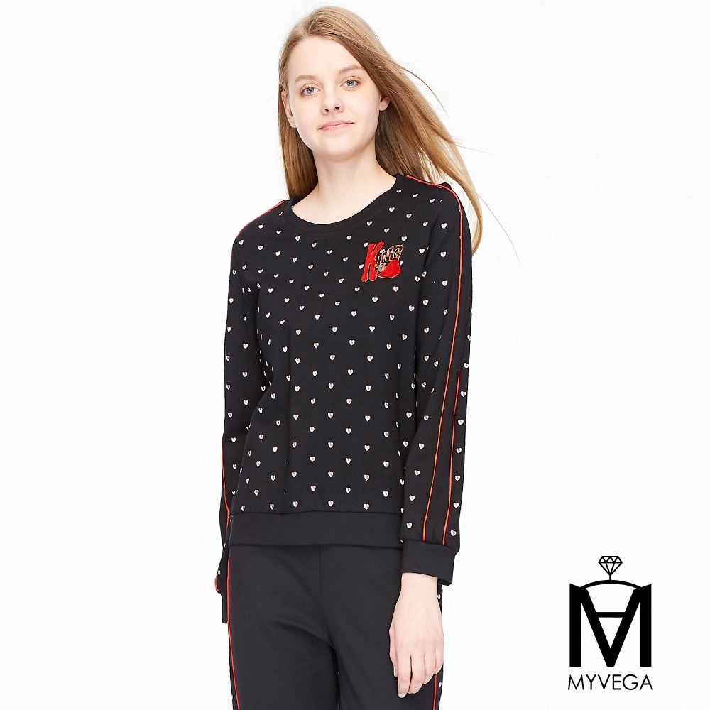 【麥雪爾】MA滿版愛心條紋上衣-黑